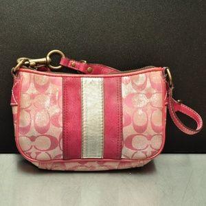 Coach pink canvas leather mini bag